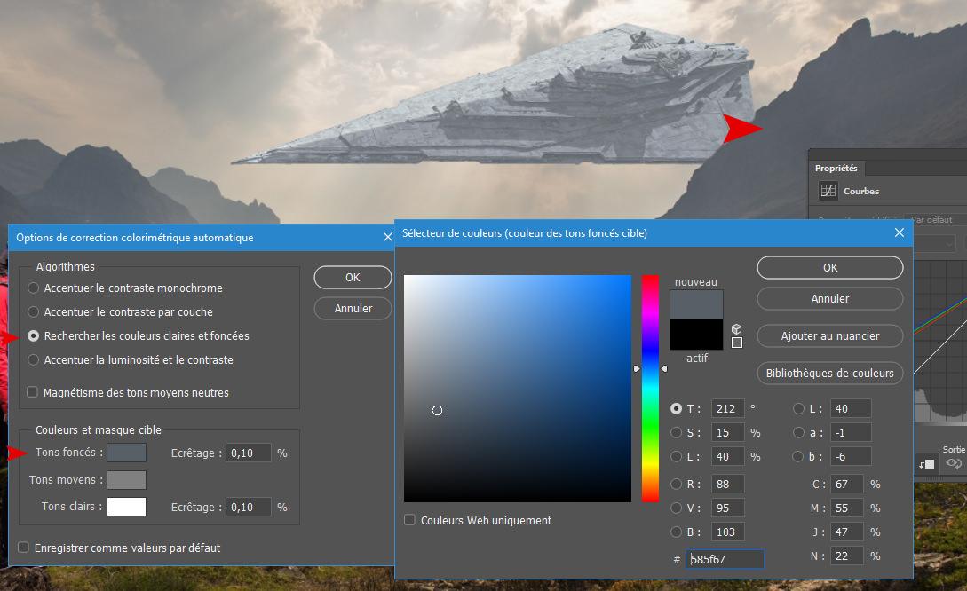 Sélectionnez une couleur foncée proche du vaisseau