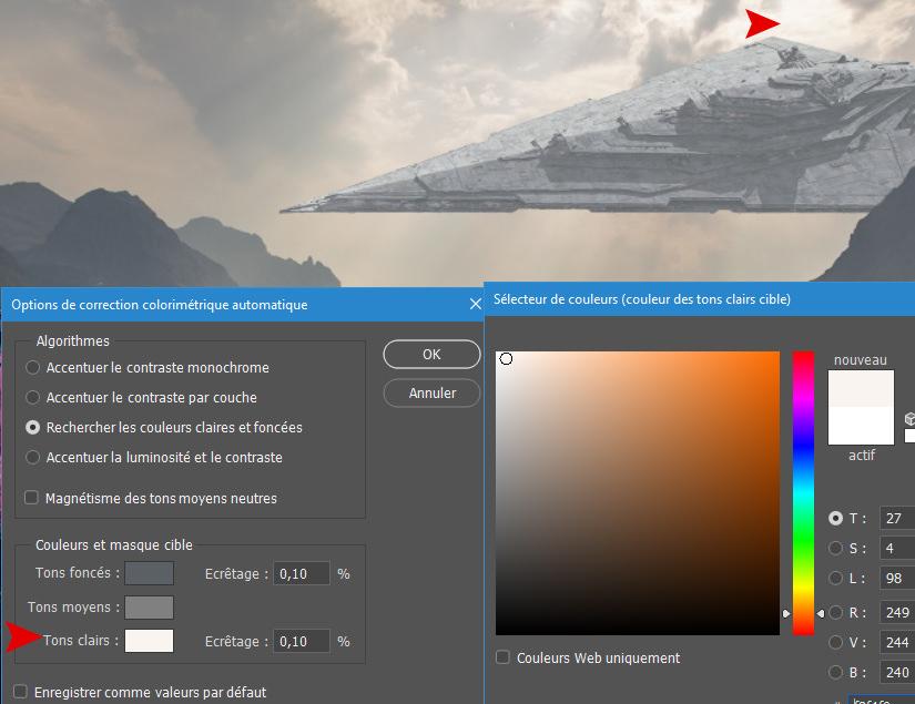 Sélection d'une couleur claire proche du vaisseau