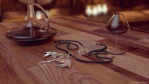 Scène 3D du collier Dragon des Aurores