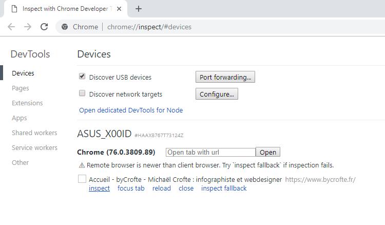 Tuto inspecter un site sous android depuis son pc - capture sur chrome PC